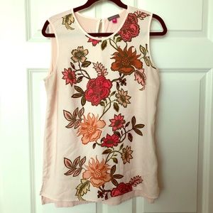 Vince Camuto Pink floral high low tank blouse
